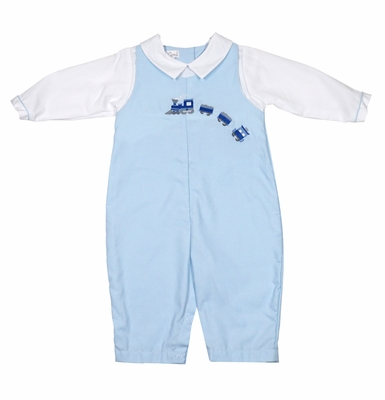Petit Ami Baby Boys Blue Longall with Shirt - Train Embroidery
