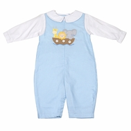 Petit Ami Baby Boys Blue Longall with White Shirt - Noah's Ark Animals