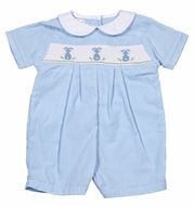 Petit Ami Baby Boys Blue Micro Check Smocked Easter Bunny Romper