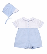 Petit Ami Baby Boys Blue Romper - Embroidery Trains - Newborn Includes Hat