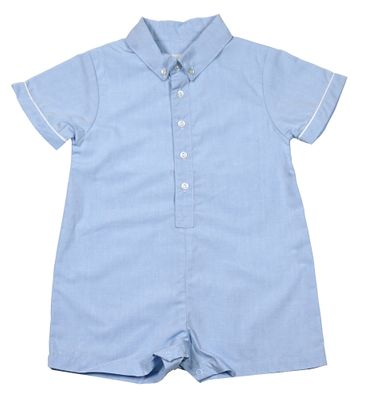 Petit Ami Baby Boys Blue Shirt Style Romper with Collar