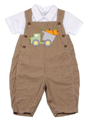 Petit Ami Baby Boys Brown Check Longall with Shirt - Pumpkin Truck