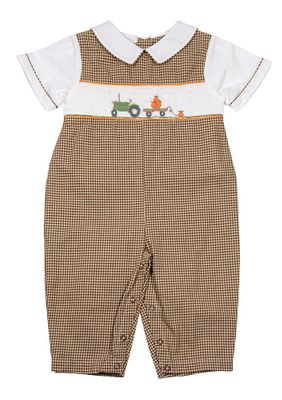 Petit Ami Baby Boys Brown Gingham Smocked Pumpkin Tractor Romper