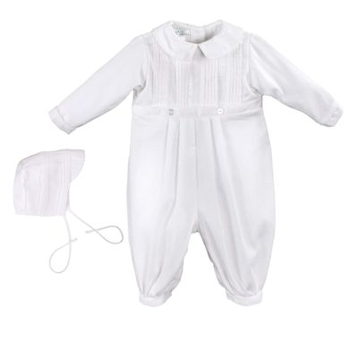 Petit Ami Baby Boys Dressy White Embroidered Longall Suit