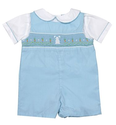 Petit Ami Baby Boys French Blue Smocked Easter Bunny Shortall