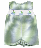 Petit Ami Baby Boys Green / Blue Check Smocked Sailboats Jon Jon