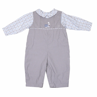 Petit Ami Baby Boys Gray Corduroy Longall with Gray / Blue Plaid Shirt - Embroidery Train