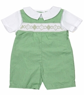Petit Ami Baby Boys Green Check Smocked Romper with Collar