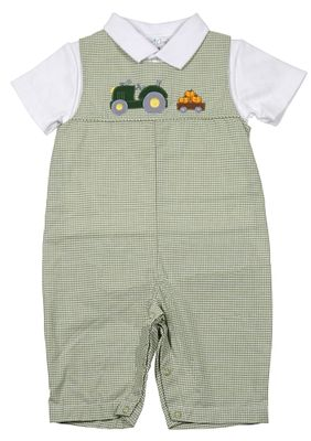 Petit Ami Baby Boys Green Check Tractor Longall