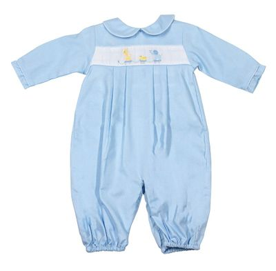 Petit Ami Baby Boys Light Blue Romper Converter Gown - Toy Animal Parade - Newborn Size Includes Hat