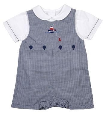 Petit Ami Baby Boys Navy Blue Check Romper - Tugboat
