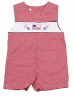 Petit Ami Baby Boys Red Gingham Patriotic Flag & Firecrackers Jon Jon