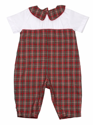 Petit Ami Baby Boys Red Holiday Plaid Romper with Collar