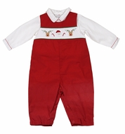 Petit Ami Baby Boys Red Smocked Santa Longall with Shirt