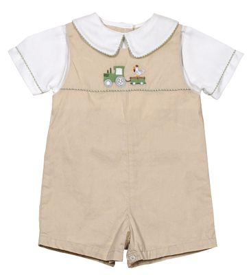 Petit Ami Baby Boys Tan Romper with Green Farm Tractor