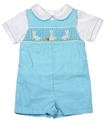 Petit Ami Baby Boys Turquoise Blue Check Smocked Easter Bunny Romper