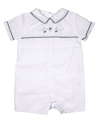 Petit Ami Baby Boys White Bubble Romper - Embroidery Bees