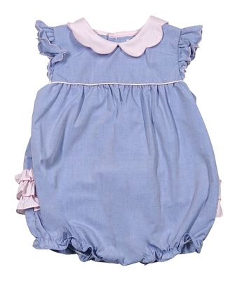 Petit Ami Baby Girls Blue Bubble - Pink Collar and Ruffles