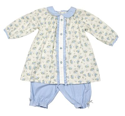 Petit Ami Baby Girls Blue Check Pantaloons with Floral Ruffle Top