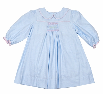 Petit Ami Baby Girls Blue Check Dress with Collar - Long Sleeves - Smocked in Pink