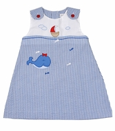 Petit Ami Baby Girls Blue Stripe Dress with Bloomers - Whale