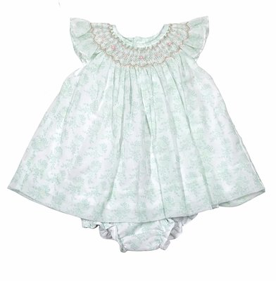 Petit Ami Baby Girls Dainty Green Floral Smocked Dress with Bloomers
