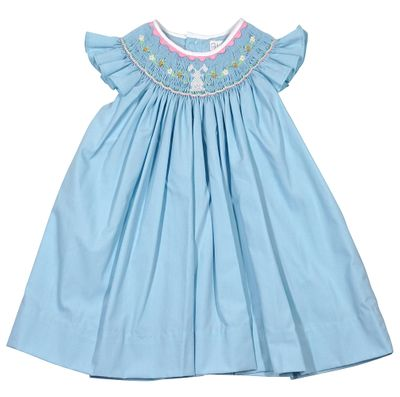 Petit Ami Baby Girls French Blue Smocked Easter Bunny Dress