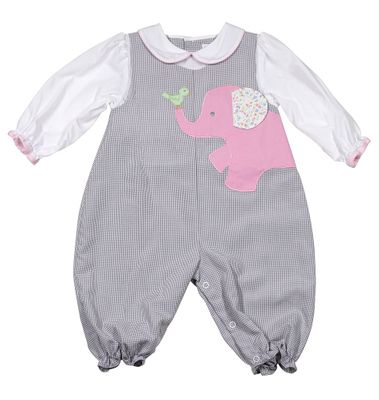 Petit Ami Baby Girls Grey Check Romper with Attached Blouse - Pink Elephant