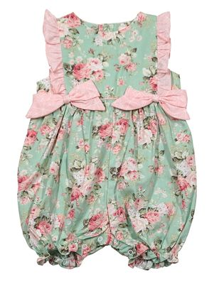 Petit Ami Baby Girls Green / Pink Floral Bubble with Bows