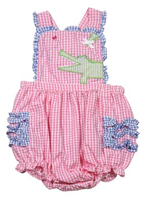 Petit Ami Baby Girls Hot Pink / Blue Check Crossback Bubble - Green Alligator