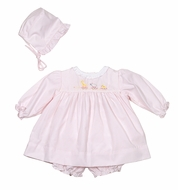 Petit Ami Baby Girls Pink Dress with Bloomers - Embroidered Animal Train - Newborn Includes Hat