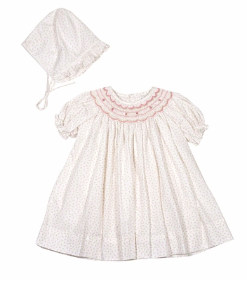 Petit Ami Baby Girls Pink Floral Smocked Dress - Bloomers & Bonnet