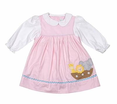 Petit Ami Baby Girls Pink Noah's Ark Animals Jumper with Blouse