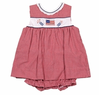 Petit Ami Baby Girls Red Gingham Patriotic Flag & Firecrackers Overlay Bubble