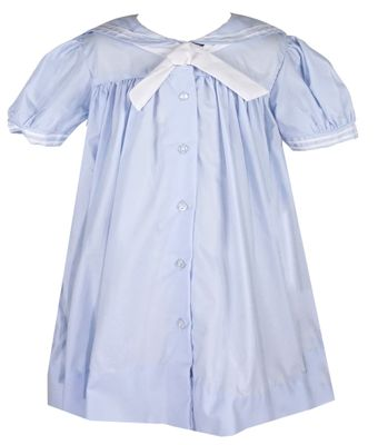 Petit Ami Baby Girls Sailor Suit Dresses - Light Blue