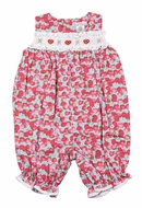 Petit Ami Baby Girls Strawberry Smocked French Bubble Romper