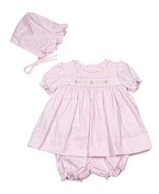 Petit Ami Baby Girls Sweet Pink Dress with Bloomers - Newborn Includes Bonnet