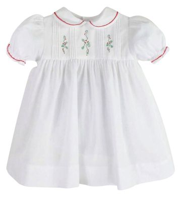 Petit Ami Baby Girls White Dress - Embroidered Christmas Holly