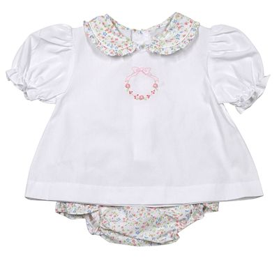 Petit Ami Baby Girls White / Pink Floral Embroidered Diaper Set