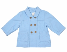 Petit Ami Baby / Toddler Boys Double Breasted Corduroy Coat - Blue