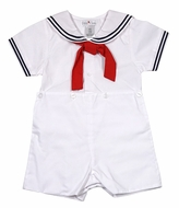 Petit Ami Baby / Toddler Boys Sailor Suit Button On - White