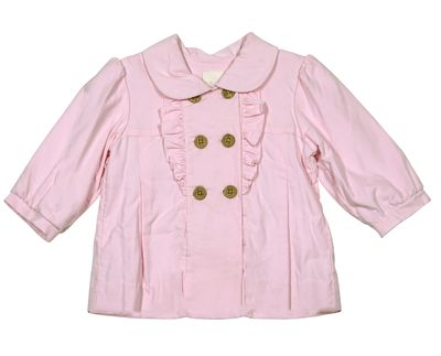 Petit Ami Baby / Toddler Girls Double Breasted Ruffle Corduroy Coat - Pink