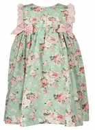 Petit Ami Baby / Toddler Girls Floral Pinafore Dress with Bows - Green / Pink