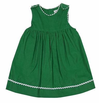 Petit Ami Baby / Toddler Girls Grass Green Jumper Dress - White Rick Rack Trim
