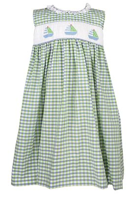 Petit Ami Baby / Toddler Girls Green / Blue Check Smocked Sailboats Dress