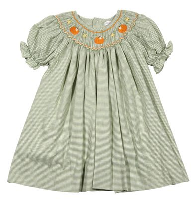 Petit Ami Baby / Toddler Girls Green Check Smocked Pumpkins Bishop Dress