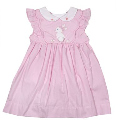 Petit Ami Baby / Toddler Girls Pink Check Easter Bunny Dress - Button Off Bib