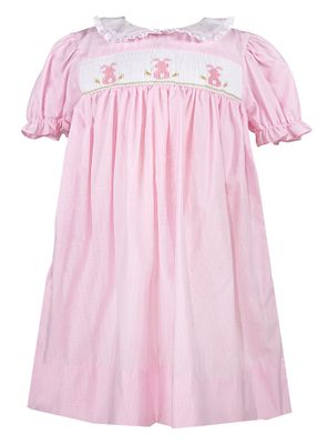 Petit Ami Baby / Toddler Girls Pink Micro Check Smocked Easter Bunny Dress