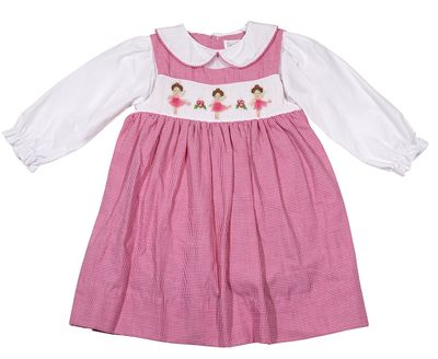 Petit Ami Baby / Toddler Girls Pink Check Smocked Ballerinas Jumper Dress with Blouse