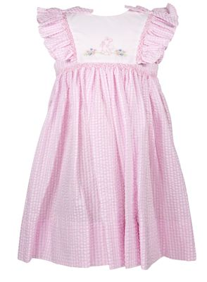 Petit Ami Baby / Toddler Girls Pink Check Seersucker Embroidered Easter Bunny Dress